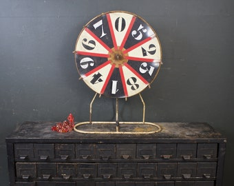 Vintage Carnival Wheel / Hand Painted Wood Game of Chance Game / Carnival Decor