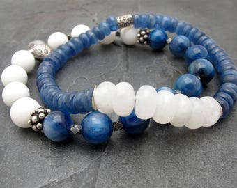 beauty gift, kyanite bracelet, blue kyanite, moonstone bracelet, gemstone bracelet, gift for her, blue gemstone bracelet, sterling silver