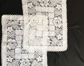 Vintage Filet Doilies/place mat with hand crochet edges