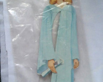 Vintage Graduation Paper Centerpiece,  Girl in Blue Cap and Gown, Beistle USA, in Package