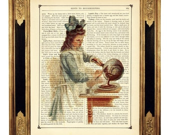 Chocolate Girl Art Print Victorian Kitchen Pan Poster - Vintage Victorian Book Page Art Print Steampunk