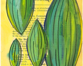 Original Painting Medical Book Page Art, Organic Pods, Painting, Gouache, Affordable