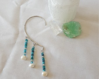 Blue Bead and Freshwater Pearl Beaded Silver Ear Cuff