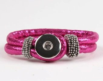 Hot Pink PU  Leather Snap Bracelet for Interchangeable Snap Jewelry Buttons