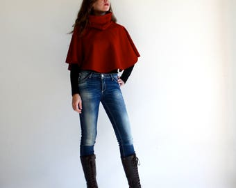 Red cape, Red capelet, turtleneck cape, wool shawl, women poncho, wool poncho, winter clothing, red outerwear, gift idea for her, cover up