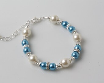 Flower girl bracelet, Ocean blue girl bracelet, Ocean Blue and Ivory pearl bracelet, Malibu blue, bridesmaid jewelry, ocean blue wedding