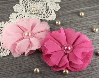 Matriarch : Ella - 2 pcs Sheer Chiffon Fabric Flowers with Pearl Center ( pink / hot pink ) Valentine's Day