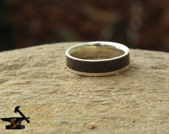 wood and silver ring (asymmetrical)