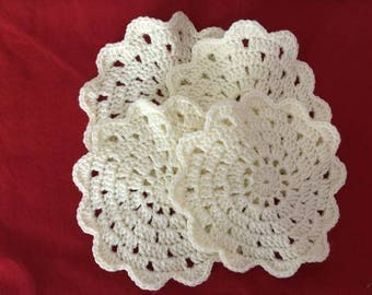 Crochet Coasters, Handmade Coasters, Yellow Coasters, Small Doily, Set of 4