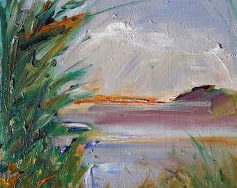 """A High Wind, original oil painting, miniature oil painting, abstract impressionistic expressionistic painting by puci, 5x5"""""""