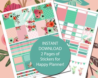 Coralmint Flowers - MAMBI Happy Planner Printable Stickers - 2 Pages - Instant Download - Over 100 Stickers