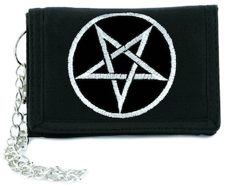 Grey Inverted Woven Pentagram Tri-fold Wallet w/ Chain Occult Clothing - YDS-PA-234-WALLET
