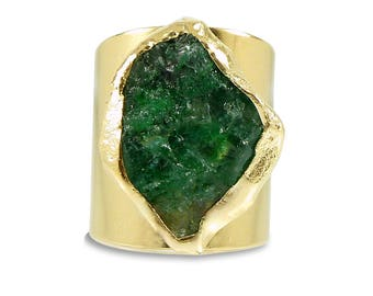 Raw Emerald Ring, Emerald, May Birthstone, Raw Gemstone Ring, Statement Ring, Gold Cocktail Ring, Natural Emerald Ring, Raw Stone Jewelry.