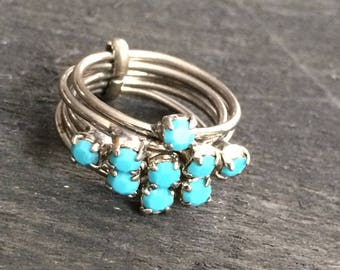 Vintage Multi Band Silver Metal Ring with Blue Stones Marked Austria
