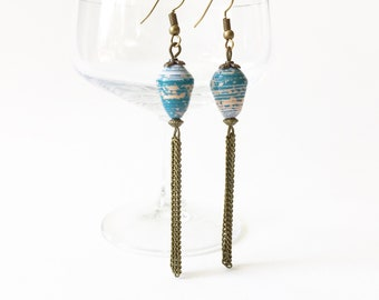 Bronze and blue paper beads earrings