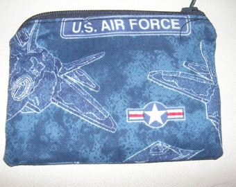 US Air Force military armed forces handmade zipper fabric coin change purse card holder