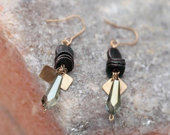 Patina Stacked Crystal Quartz Earrings Brass Patina Drop Earrings 2018 New Earrings Stacked Brass Earrings Valentine's Gift