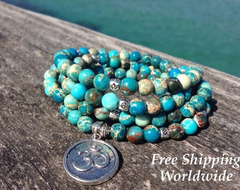 Turquoise Necklace, 108 Jasper Beads, Yoga Bracelet, 108 Jasper Necklace, Turquoise Yoga Jewelry, Mala Necklace, Turquoise Wrap Bracelet