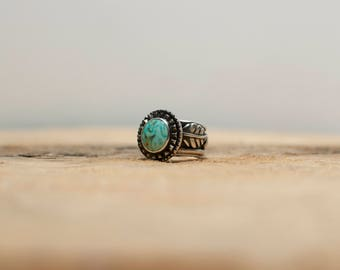 Skyline Turquoise Silver Leaf Ring