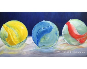 Playing Marbles original Oil Painting Realism -VibgyorFineArts- 40 X 80 cm