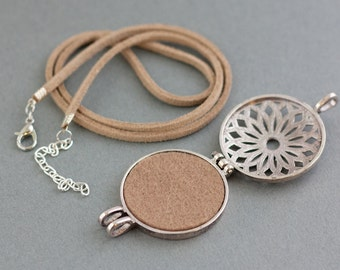 Essential Oil Diffuser Necklace, Aromatherapy Jewelry, Essential Oil Necklace, Oil Diffuser Pendant, Oil Locket, with extra Chain, Felt Pads