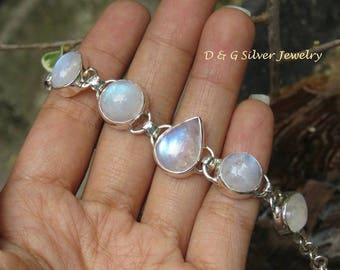 Sterling Silver Five Rainbow Moonstone Bracelet SBB-493-DG
