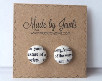 Black and White Newsprint Text Covered Handmade Fabric Covered Hypoallergenic Button Post Stud Earrings 10mm