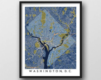 Washington DC Map Print Art / Capital Mall / Hometown Anniversary Moving Housewarming New Home Going Away Gift / Washington DC Local Gift
