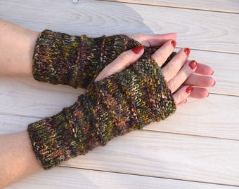 Hand knit arm warmers Outlander fingerless gloves Wool wrist warmers Texting gloves Gift for her