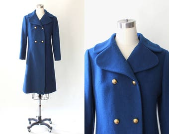 1960s Cashmere Coat with Gold Buttons  // 60s Vintage I. Magnin Double Breasted Royal Blue Coat // Small - Medium