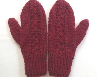 Dark red wool mix mittens - Womens knit red mittens - Hand knit mittens - Wool knit mittens - Womens warm knit mittens