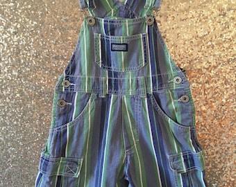 vintage kids striped short overalls