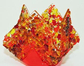Glassworks Northwest - Votive Fall - Fused Glass Candleholder