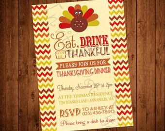 Cute Turkey Chevron Thanksgiving Invite