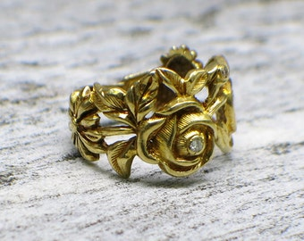 18K Diamond Roses Flower Ring