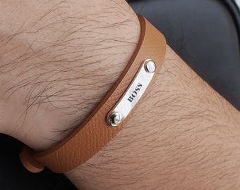 Personalized Leather Bracelet for men / Mens Bracelet / Father's Day Gift / LB03