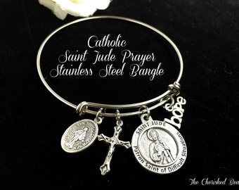Catholic Saint Jude Patron Saint of Difficult Situations Stainless Steel Bangle - Healing Saint - Prayer Bangle - Hope