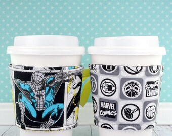 Avengers Cup Cozy // Marvel Superheroes Comics -- Blue Cup Cozy // reversible // adjustable // cold drink cozy // drink sleeves // reusable