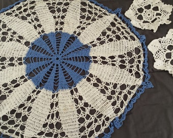 Vintage Blue White Floral Crocheted Doilies Set Granny Shabby Farmhouse Chic Home Decor