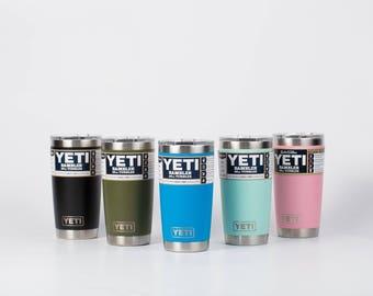Authentic Yeti Custom Laser Engraved YETI Rambler, 20oz Yeti,Personalized Yeti, Corporate Gift,Business Logo, Monogram,Powder Coated Tumbler
