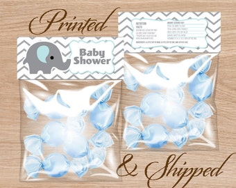 Candy Bag Labels, Candy Bag Toppers, Treat Bag Toppers, Favor Bags Toppers, Printed and Shipped - BABY SHOWER - Elephant, Blue, and Gray