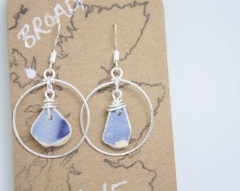 ISLE OF SKYE // Scottish Sea Pottery w Silver Hoops / Blue Handmade silver earrings / Scotland Jewellery Earrings / Rois Scottish Sea Glass