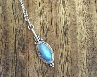 Blue Moonstone Marquise 925 Sterling Silver Necklace, 925 Sterling Silver Blue Moonstone Focal Necklace, Sterling Silver Moonstone Marquise