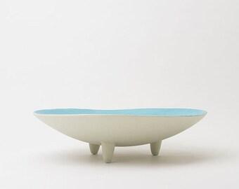 Light blue and white ceramic bowl, dining table centerpiece, original ceramic fruit bowl, original asymmetrical ceramic bowl