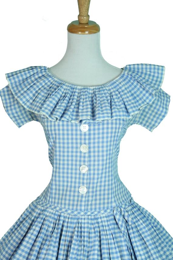 Summer Neckline Size Blue 1950s Cotton CUTE Ruffle Circle S Vintage Dress Checkered Skirt Baby Gingham BaEyawgTq