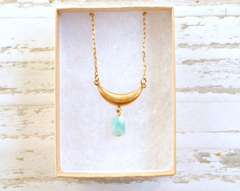 Aquamarine  Amazonite Gemstone Necklace, Aquamarine Necklace, Blue Gemstone Necklace, Minimalist necklace