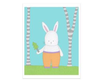 Lapin crèche impression, Art mural enfant, Nursery décor, impression d'Art, Art mural chambre d'enfant, chambre d'enfant imprimé Animal, lapin Nursery décor, Art de lapin