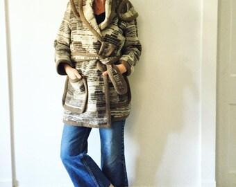 Vintage 70 Southwestern Wool Blanket Jacket ,Blanket Wrap Coat