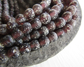 Round purple glass beads, rustic purple  lampwork beads, translucent gritty textured aged look  indonesian 8mm - 9mm (16 beads)  6bb27-13