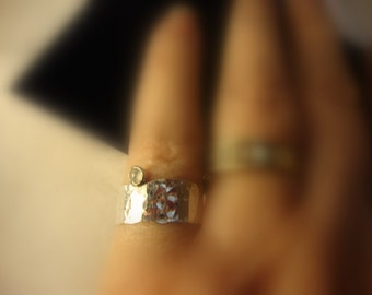 Baby Moon -  .925 sterling silver - Eco Friendly sourced - tiny moonstone - Custom Made in your size